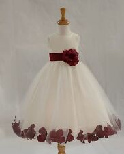 FLOWER GIRL DRESS Toddler Birthday Bridesmaid red blue ivory yellow ROSE PETAL