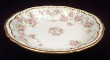 Theodore Haviland Limoges Schleiger 340 Dessert Bowl, Pink Roses, Double Gold