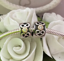 PANDORA S/S & 14ct GOLD PAIR OF 'DIAMOND SWIRL' STOPPERS/CLIPS #790382D *RARE*
