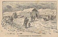 A0102 Groenlandia - Un' abitazione - Stampa Antica del 1907 - Xilografia