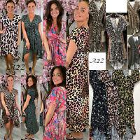 Womens Leopard Print V Neck Ruffle Maxi Dress Ladies Tiger Summer Beach Sundress