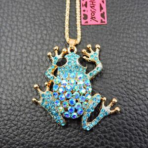 Betsey Johnson Fashion Crystal Frog Animal Charm Woman Pendant Chain Necklace