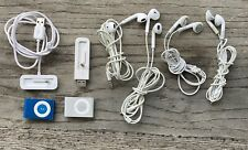 Bundle set of Two Apple iPod Shuffles, Blue and Silver, Chargers and Headphones