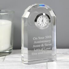 Personalised Engraved Crystal Glass Clock Birthday Anniversary Retirement Gift
