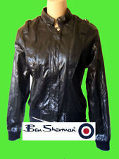 BEN SHERMAN black jacket faux leather coat m medium michael jackson shiny patent