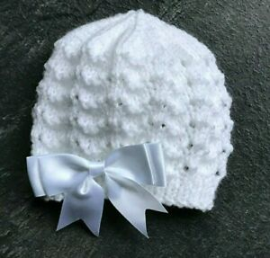 New Hand Knitted White Baby Girl's Beanie Hat with Satin Bow Various sizes
