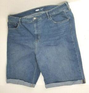 Old Navy Plus 20 Shorts Jean High Rise Bermuda Denim Blue Casual Womens Cuffed