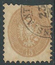 1864-65 VENETO E MANTOVA USATO 15 S DIFETTOSO  - M57-8