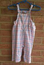 Vintage baby / toddler cotton overalls pants pink blue tartan spring size 12 mos