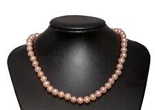 Rosa Collana Di Perle D'acqua Dolce Length-45cm Argento Sterling 925 Gancio &