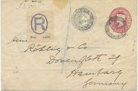 2441 1899 very rare QV 2 D lake + 2 ½ D grey compound STO Env REGISTERED HAMBURG