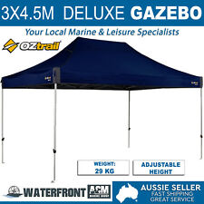 OZtrail Deluxe Gazebo Blue Canopy Marquee Tent Outdoor Party Folding Shade Camp