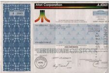 Rare Historic Multicolor Atari Stock! 1-2 Tramiel Signatures! Only Here! Cv $200