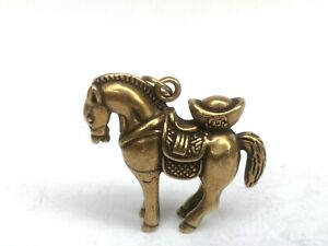 Collection Old art Chinese Copper Carving Lovely Horse Coin Pendant Netsuke Gift