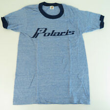 1970's NOS Polaris Small Ringneck Thin Heather Blue T-Shirt - VTG Snowmobile
