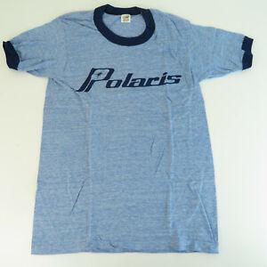 1970's NOS Polaris Small Ringneck Thin Heather Blue T-Shirt - VTG Snowmobile
