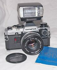 Olympus OM10 35mm SLR Film Camera With 50mm Lens, Manual Adapter & Flash