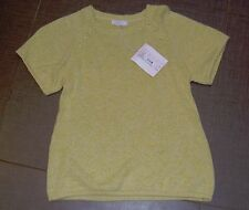 Wheat girls oversized short sleeve pale citron yellow green sweater top NWT 12