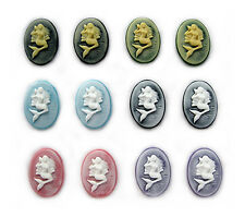12 MERMAID & SEASHELL Cameos 6 Color Lot 25mm x 18mm Costume Jewelry Craft CAMEO