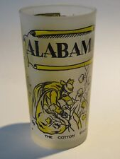 Frosted BEER Cocktail Drink GLASS ~ ALABAMA: The Cotton State ~ Map, Birmingham