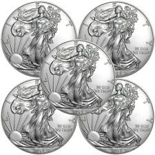 Lot of 5 - 2018 $1 American Silver Eagle 1 oz Brilliant Uncirculated