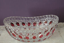"VINTAGE CUT GLASS 8"" BANANA BOAT SHAPED BOWL - RED BLOCK BEVELLED BUTTONS"