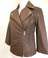 AllSaints Tan Cargo Leather Biker Jacket NWT Retail $485 Price $299 Size 6