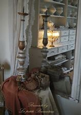 Sehr großer alter Kirchenleuchter Altarleuchter HOLZ Shabby Frankreich Brocante