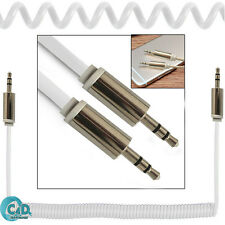 White Coiled 3.5mm AUX Cable Mini Jack To Jack Male Audio Auxiliary Lead PC Car