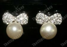 U CLIP ON rhinestone CRYSTAL BOW & PEARL stud EARRINGS
