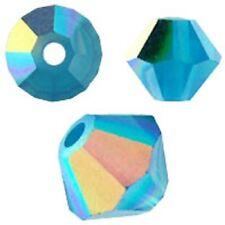 Swarovski Crystal Bicone.Caribbean Blue Opal AB Color. 6mm. Approx. 48 PCS. 5328