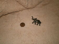 Elephant Pin w/Rhinestone Eye, Brass, Vintage, No Maker Marks, Trunk Up