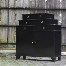 """46"""" w Isabella Chest of Drawers jet black antiqued nickel hardware hand crafted"""