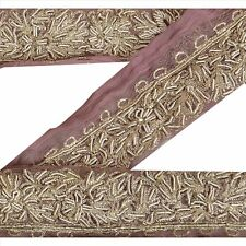 Sanskriti Sari Border Antique Hand Beaded 2Yd Indian Trim Décor Ribbon Pink Lace