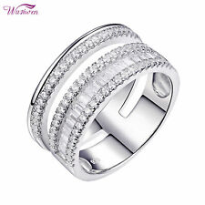 Round White AAA Cz 925 Sterling Silver Wedding Band Eternity Ring For Women 5-10