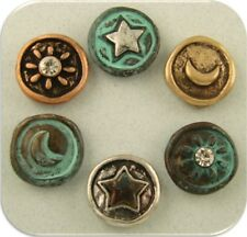 Beads Sun Moon Stars Heavenly Silver Copper Gold 4T Metal ~ 2 Hole Sliders QTY 6