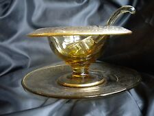 Vintage Mayonnaise Dish - Amber - Etched Design-Under Plate - Ladle - Gold Trim