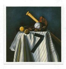 BILL GOFF NEW YORK YANKEES MICKEY MANTLE #7 JERSEY, BATS & GLOVE ART PRINT CARD