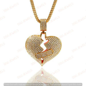3CT Round Diamond Men's Love Broken Heart Pendant 14k Yellow Gold Finish Jewelry