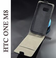 Cover pelle per HTC ONE M8 custodia salva chiusura iman nera