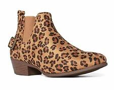 Women's Ankle High Chunky Stack Block Heels Leopard Print Booties Dress Boots