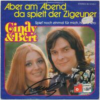 """CINDY & BERT: Aber am Abend... - 7"""" Single 1974, Coverhülle 2fach SIGNIERT"""