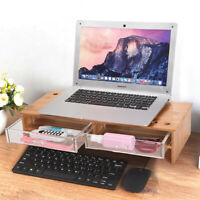 Bamboo Wood Monitor Stand Computer Riser With 2 Drawers Laptop Printer Stand New