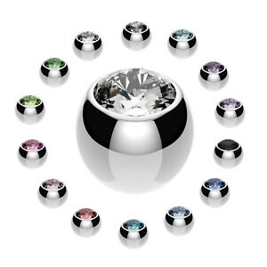 Spare Balls WITH GEMS For Piercings Belly Nipple Tragus Labret Tongue Bars
