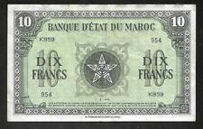 Morocco/Maroc - Old 10 Francs Note - 1944 - P25 - VF/XF