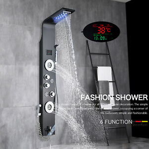 Shower Panel Tower LED Rainfall&Waterfall Massage System Body Spa Jet Stainless