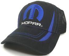 7a1ff4596a3 Mopar Trucker Hat Cap Mesh Black Blue M Embroidered Emblem Dodge Chrysler  Jeep