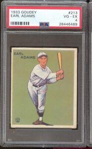 1933 Goudey Earl Adams  #213 Cincinnati Reds PSA 4 SET BREAK
