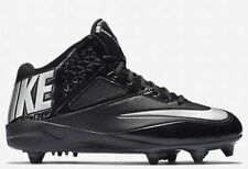 $110 NEW NIKE NFL Code Pro 3/4 Mid D Football Cleats Shoes Black Silver US 12.5