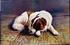 St Bernard dog 1920's postcard by artist Alfred Mailick mailed in Austria